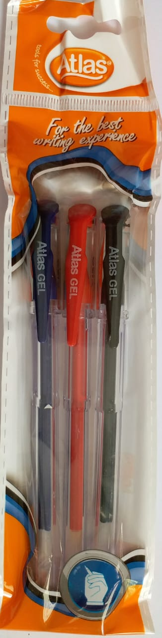 Atlas Chooty Gel Pen Assorted Pack which includes blue, black and red pens each for sale online in Sri Lanka