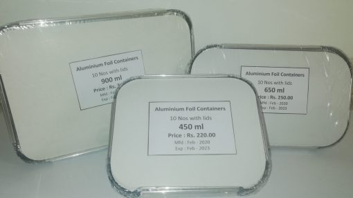 Three different sizes of Aluminium foil containers